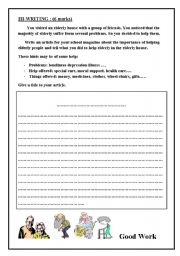 English Worksheets: writing about helping others