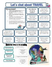 English Worksheets: Let�s chat about TRAVEL