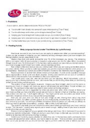 English Worksheet: Conversation and Reading Class about Body Language