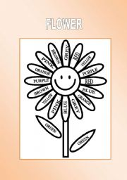 English Worksheet: Flower as the training of colours