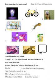 Saving energy - ESL worksheet by patricia35