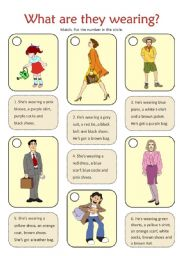 English Worksheet: WHAT ARE THEY WEARING?