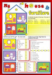 English Worksheet: My house & furniture