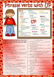 English Worksheet: Phrasal verbs with UP (2) *B&W + KEY included*