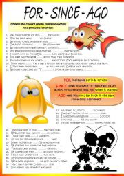 English Worksheets: FOR - SINCE - AGO