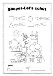 English Worksheet: SHAPES-COLOR AND COUNT!