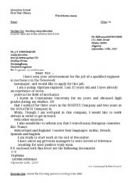 English worksheet  Letter of application Dayjob