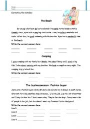 English Worksheets: Writing mistakes worksheet