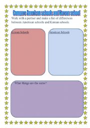 English worksheet: american school culture compare korea