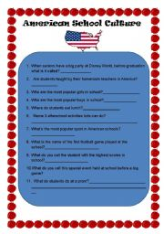 English Worksheet: American classroom culture quiz