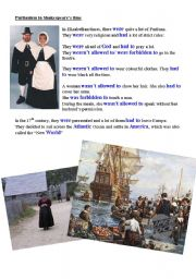 English Worksheet: revision of be allowed to / be forbidden to with the puritans