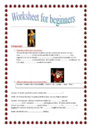 English Worksheets: A WORK SHEET  FOR BEGINNERS