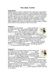 English Worksheet: You read, I write: weddings, marriage and relationship vocabulary