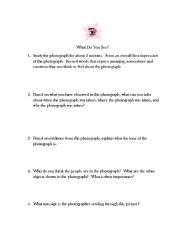 English Worksheets: Photograph Analysis Guide