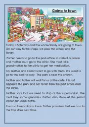 English Worksheet: Going to town