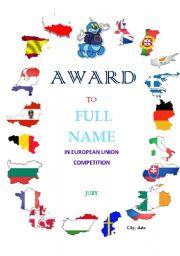 English Worksheet: Award( european union competition)