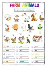 English Worksheets: FARM ANIMALS - Matching