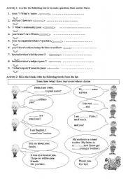 English Worksheets: introducing oneself