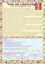 English Worksheets: reading comprehension activity �Teens & Volunteering� - KEY included