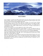 English Worksheets: Mount Everest