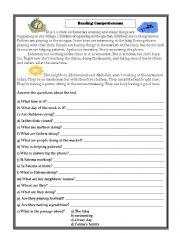 English Worksheets: A busy dau in my village