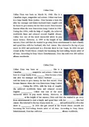 English Worksheet: Celine Dion Biography