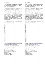 English Worksheets: 20 Questions