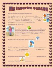 English Worksheet: My favourite season SEASONS? WEATHER AND CLOTHES