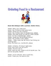 Speaking Practice - Ordering Food in a Restaurant. Dialogue Script and Practice Menu