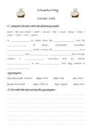 English teaching worksheets Columbus Day