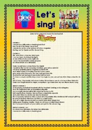 English Worksheet: > Glee Series: Season 2! > SONGS FOR CLASS! S02E01 *.* THREE SONGS *.* FULLY EDITABLE WITH KEY! *.* PART 2/2