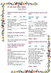 English Worksheets: Working with listening comprehension - Song : If we ever meet again (Katy Perry) : With B&W copy and answer key