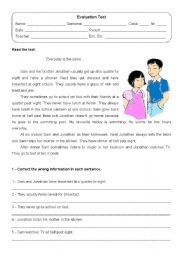 Evaluation test - year 1 of english - ESL worksheet by Dipper