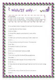 English Worksheet: I wish/If only....