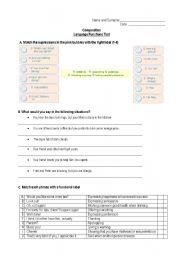 English Worksheet: Language Functions Test