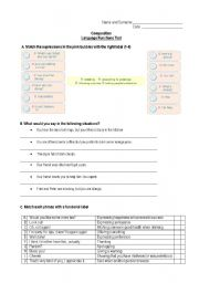 English Worksheets: Language Functions Test