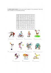 English Worksheet: Sport word search