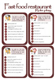 English Worksheets: Role play cards series: In a fast food restaurant