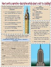 English Worksheet: How to write a narrative-descriptive article about a visit to a building?