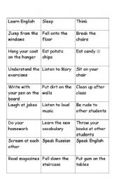 English Worksheet: modals game - feed the fish