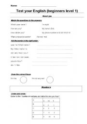 English worksheets: test your english level 1
