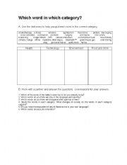English Worksheets: Word categories