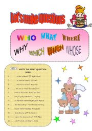 English Worksheets: LET�S MAKE QUESTIONS