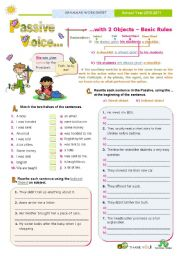 English Worksheet: Introducing the Passive Voice with 2 objects  -  Basic rules