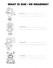 english worksheet what is he she wearing. Black Bedroom Furniture Sets. Home Design Ideas
