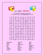 English worksheets wordsearch all about money