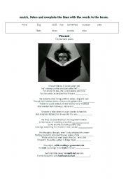 English Worksheet: Vincent- Tim Burton�s Poem