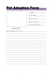 English worksheets: Pet Adoption Form