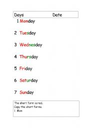 English Worksheets: Days