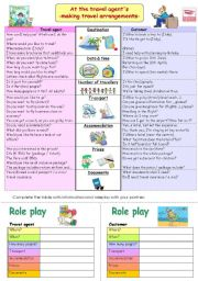 English Worksheets: Travel arrangements - role play (B&W)
